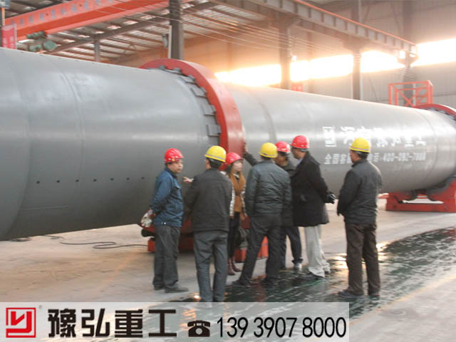 国外客户考察豫弘矿渣干燥机